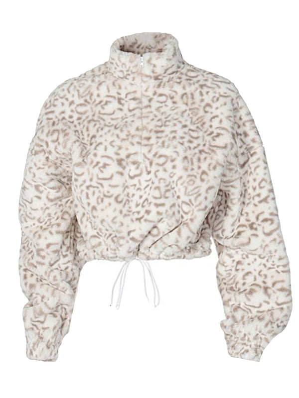'Lucy' Leopard Printed Cropped Fleece Pullover