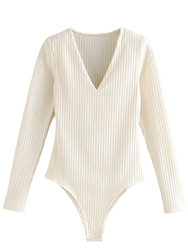 'Tessa' V-Neck Long Sleeves Ribbed Bodysuit