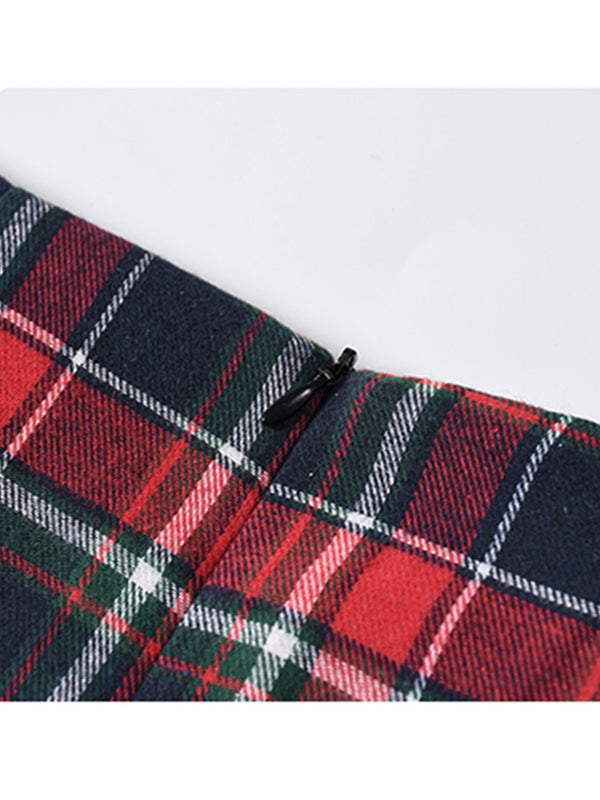 'Heather' Red Plaid Mini Skirt