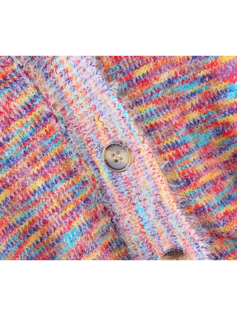 'Holly' Rainbow Mixed Knit Button Down Cardigan