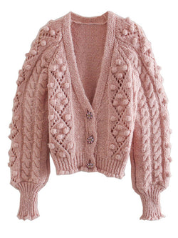 'Dora' Bling Button Pom Pom Cardigan
