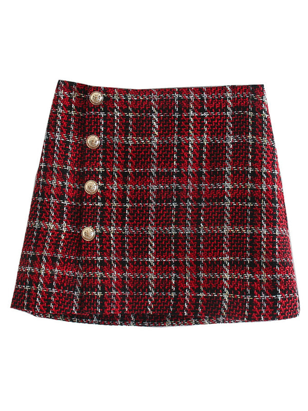 'Pardon' Tweed Plaid Buttoned Mini Skirt
