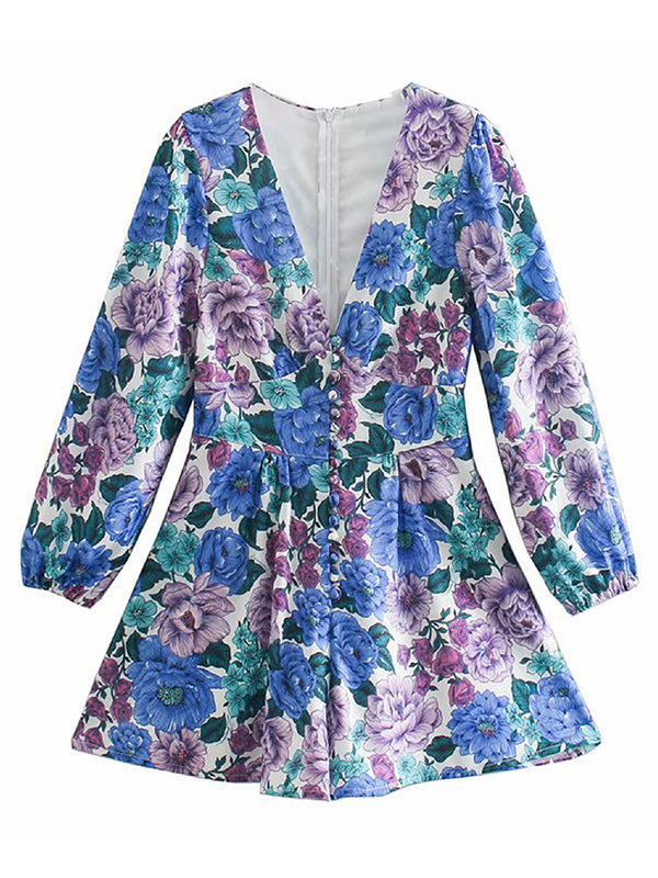 'Lisa' V-neck Floral Buttoned Mini Dress