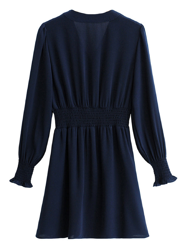 'Kylie' Ruched Buttoned Long Sleeves Mini Dress