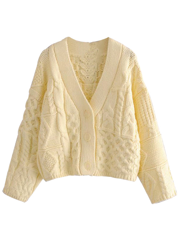 'Christy' Buttoned Cable Knit Cardigan