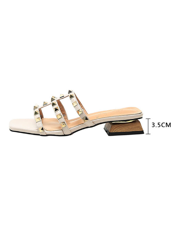 'Ariana' Square Toe Studded Strap Cream Sandals