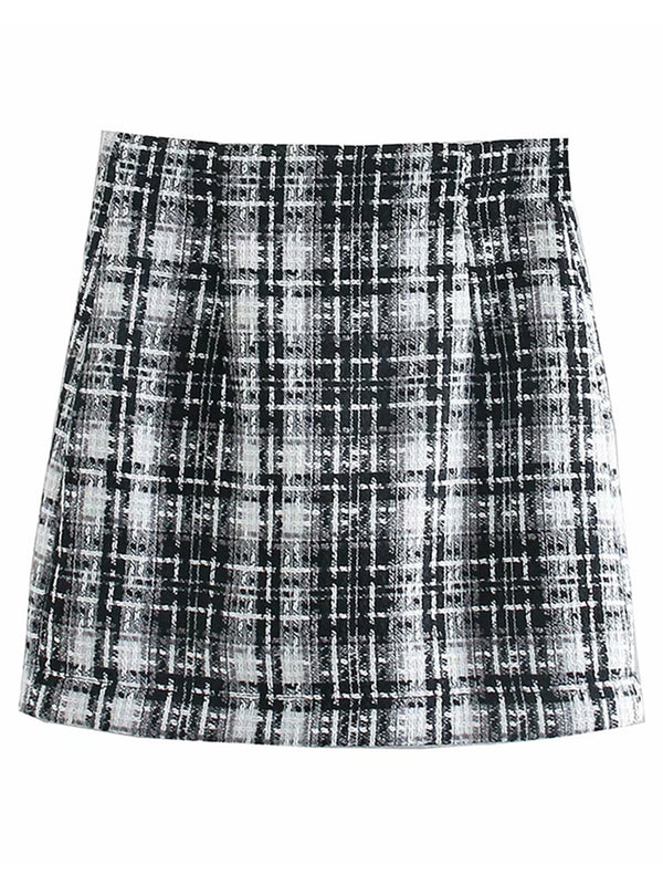 'Shannon' Tweed Black Plaid Mini Skirt