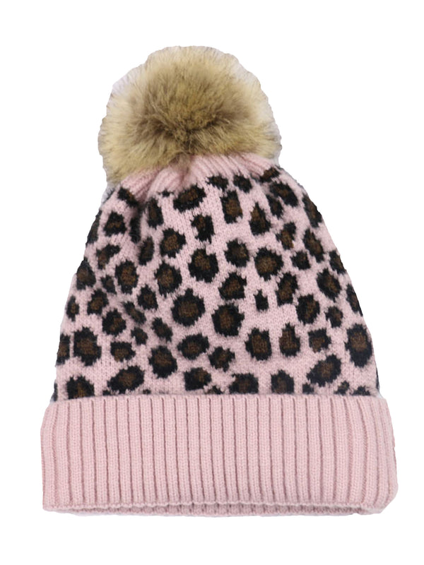 'Tricia' Leopard Printed Knit Beanie with Pom Pom (3 Colors)