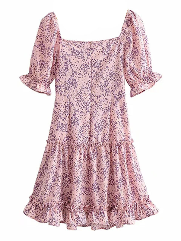 'Jessica' Floral Printed Ruched Mini Dress