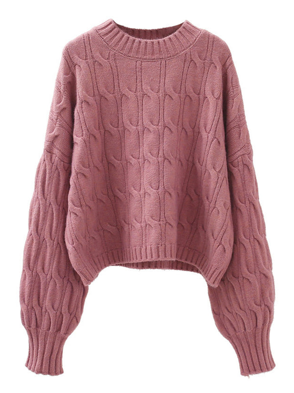 'Christy' Crew Neck Cable Knit Sweater (5 Colors)
