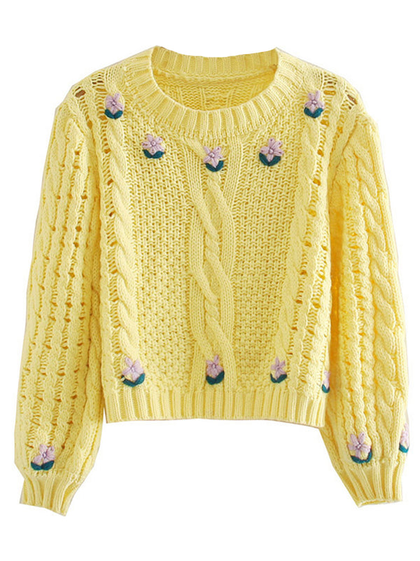 'Sonia' Floral Embroidered Cable Knit Sweater
