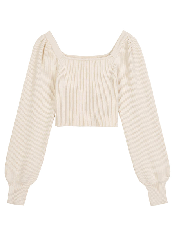 'Kimberly' Square Neck Balloon Sleeves Cropped Top