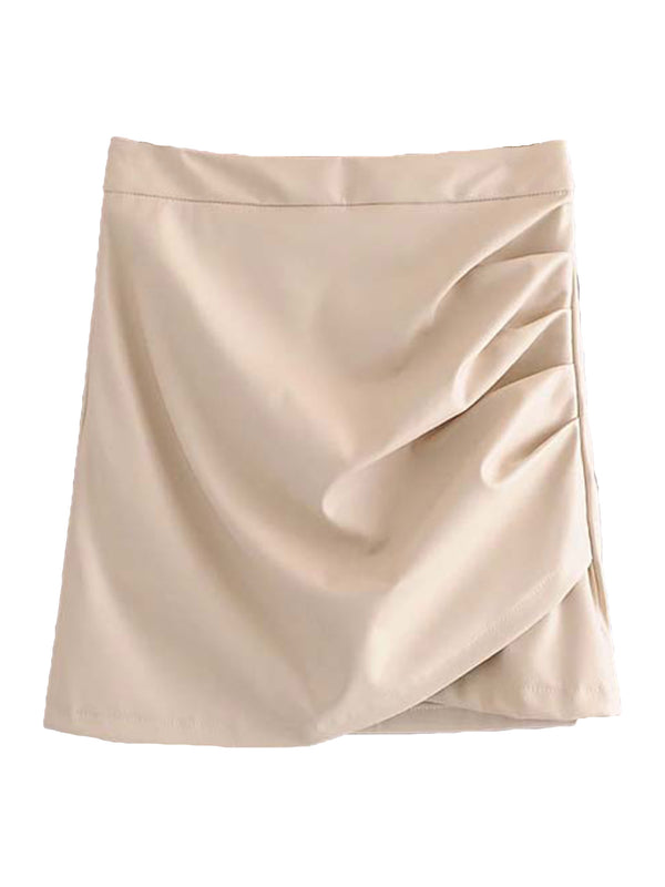 'Molly' Faux Leather Ruched Mini Skirt (2 Colors)