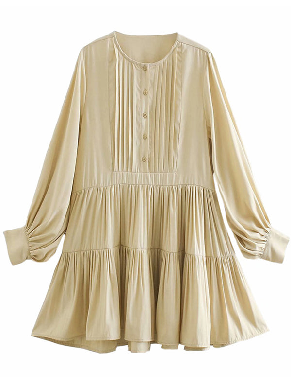 'Alisa' Buttoned Pleated Flare Mini Dress