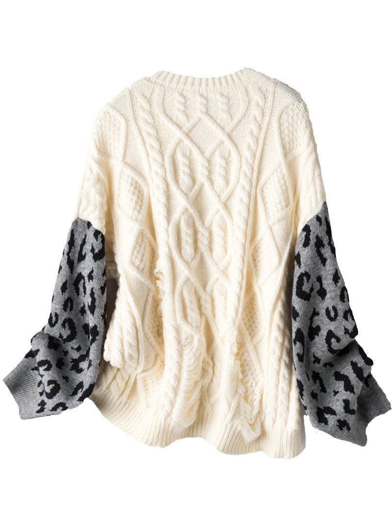 'Becky' Distressed Leopard Sleeves Cable Knit Sweater (2 Colors)