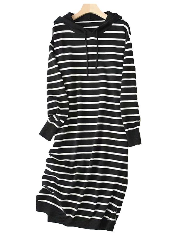 'Nikki' Striped Hooded Sweater Dress (3 Colors)