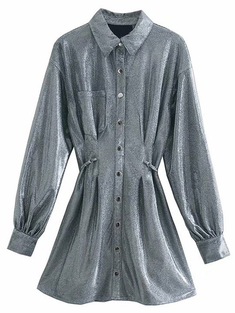 'Allie' Shimmery Buttoned Shirt Dress