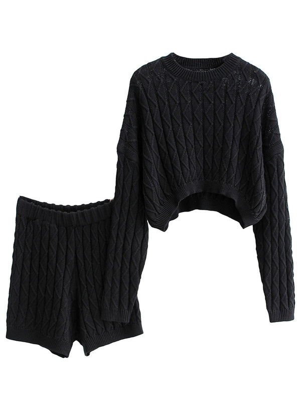 'Katie' Cable Knit Crop Top Two Piece Set (3 Colors)