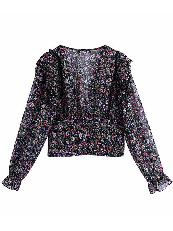 'Carey' Floral V-neck Long Sleeves Blouse