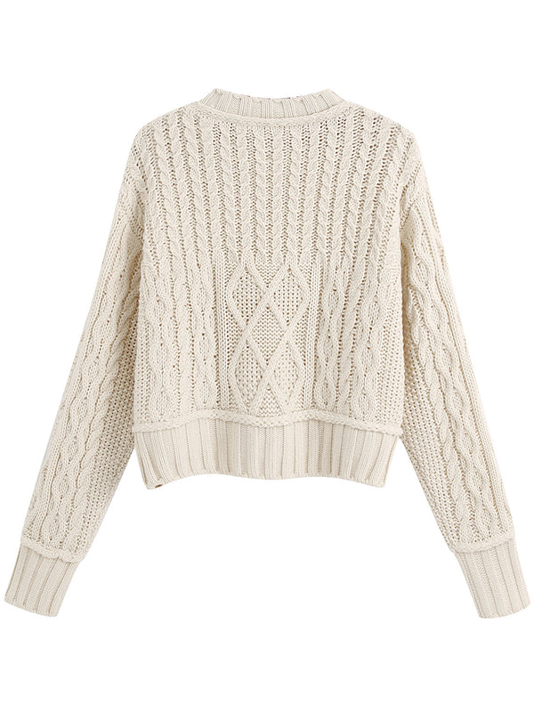 'Maria' Crewneck Cable Knit Sweater