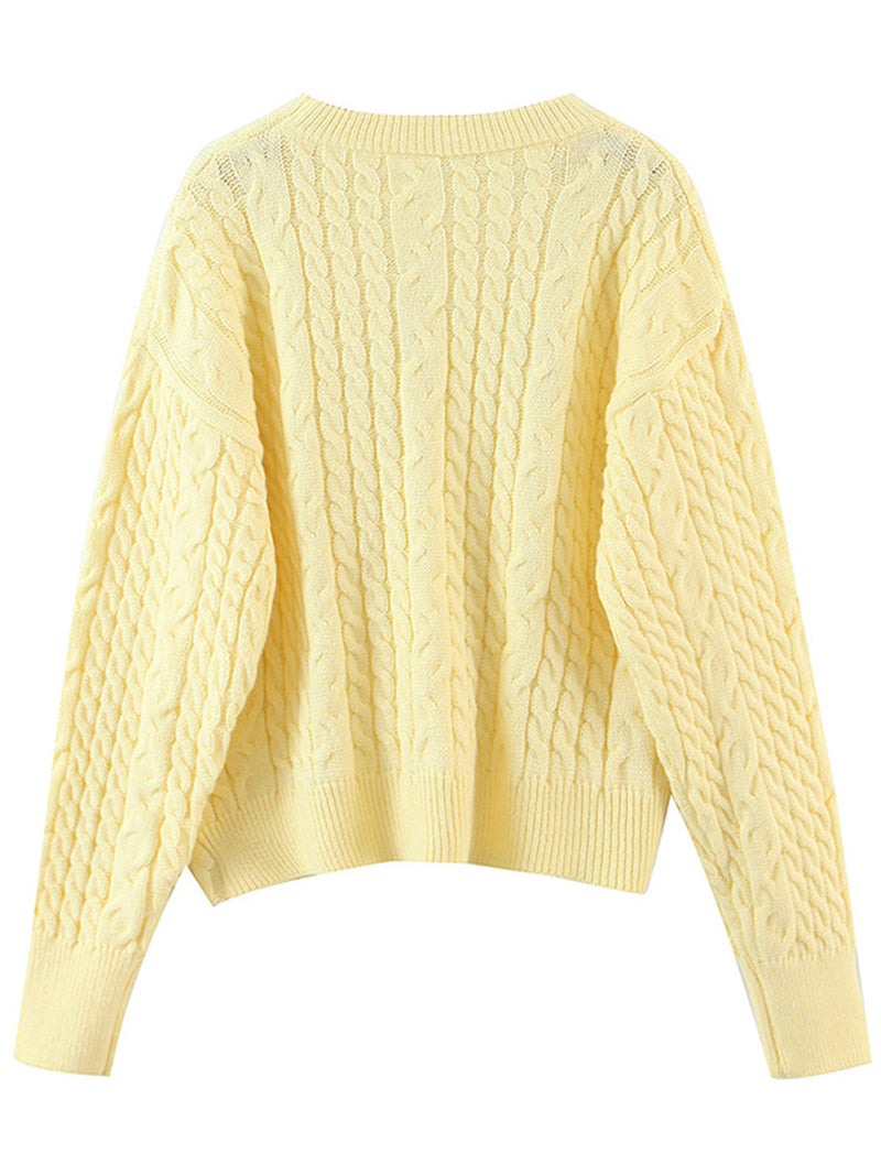 'Eunice' Asymmetric Cable Knit Sweater (2 Colors)