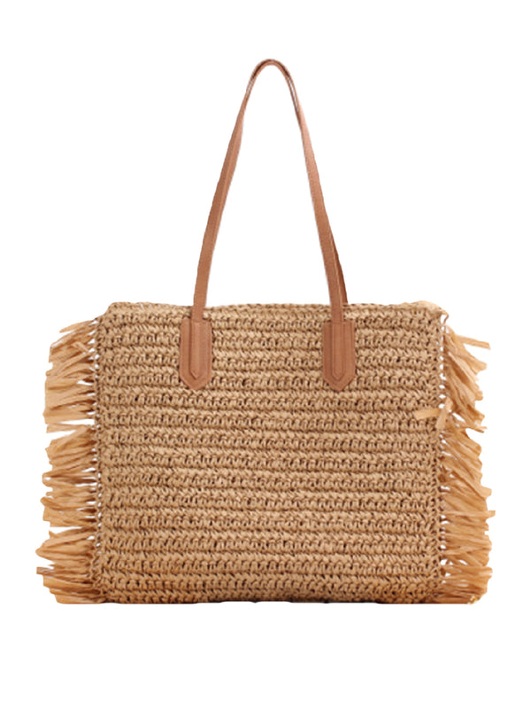 'Alissa' Rattan Tote Bag with Straw (2 Colors)