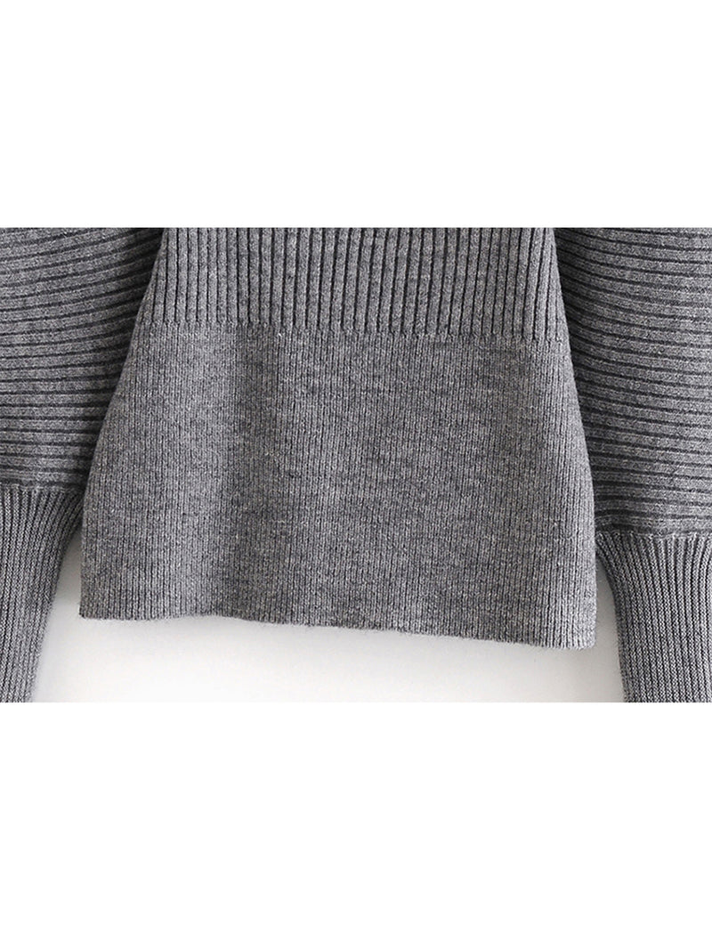 'Ginna' Square Neck Puff Sleeves Ribbed Sweater (4 Colors)