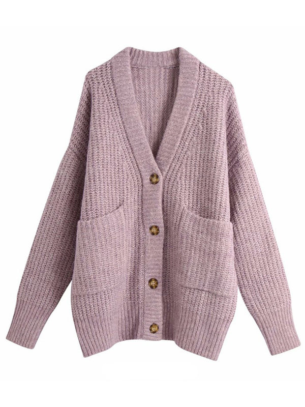'Tiffani' Oversized Buttoned Cardigan With Pockets