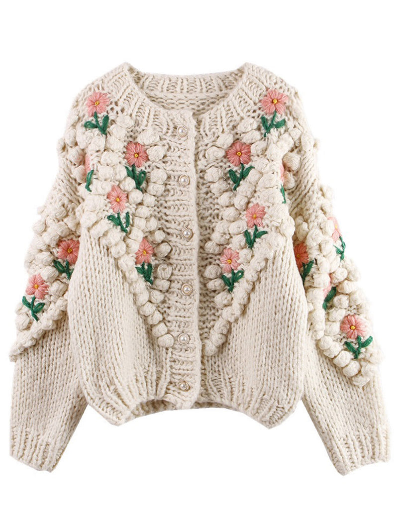 'Laura' Floral Embroidered Pom Pom Cardigan