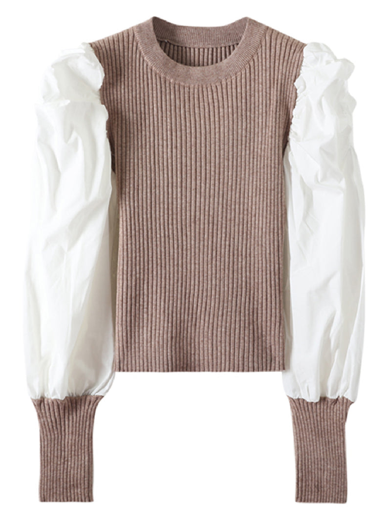 'Elle' White Shirt with Knit Puff Sleeves Top (3 Colors)