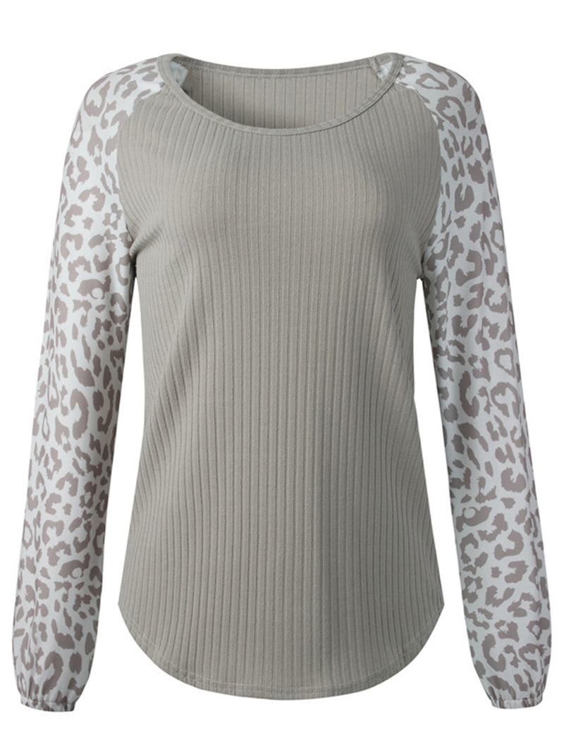 'Reta' Leopard Print Long Sleeves Sweatshirt (2 Colors)