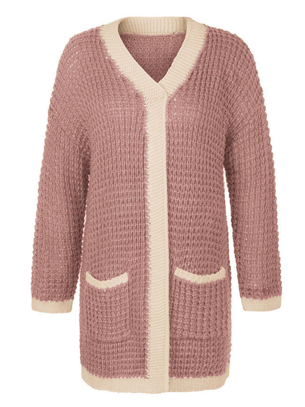 'Brisena' Waffle Knit Open Cardigan With pockets (6 Colors)