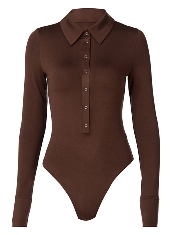 'Zola' Polo Buttoned Long Sleeves Bodysuit