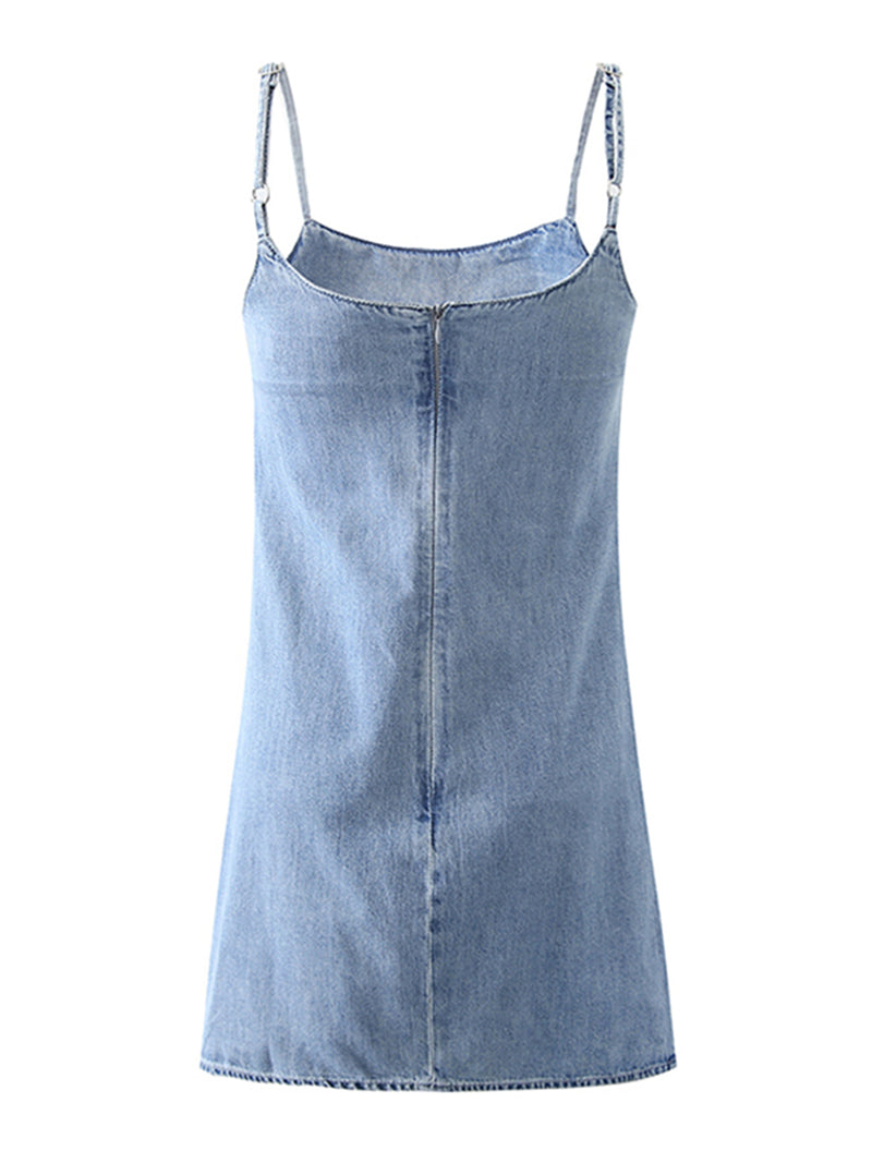 'Mackenzie' Denim Zip-Up Mini Dress