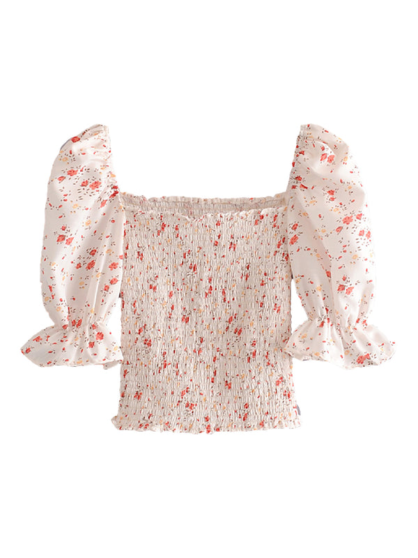 'Darcie' Floral Puff Sleeves Ruched Top
