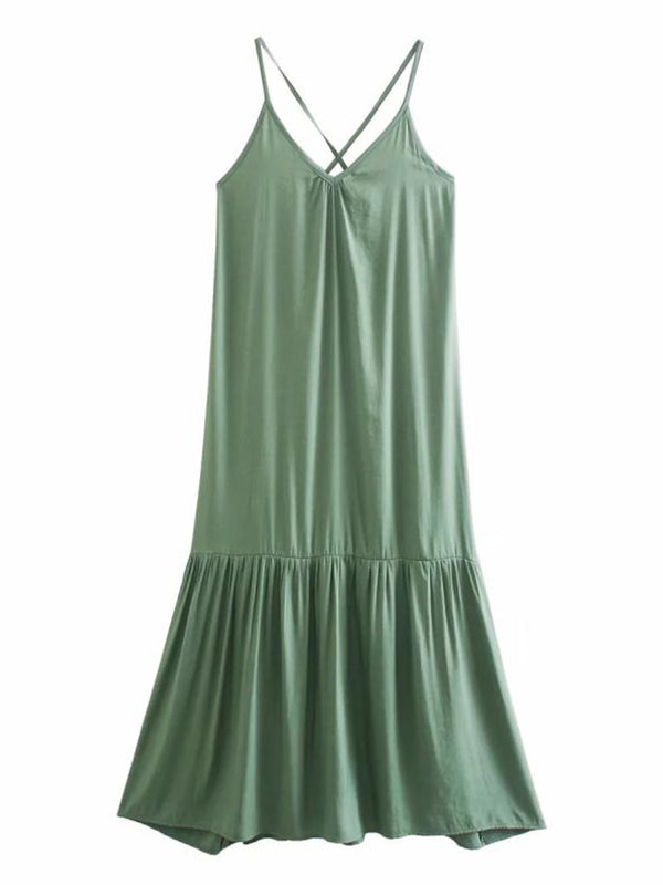 'Gigi' V-Neck Flare Midi Dress