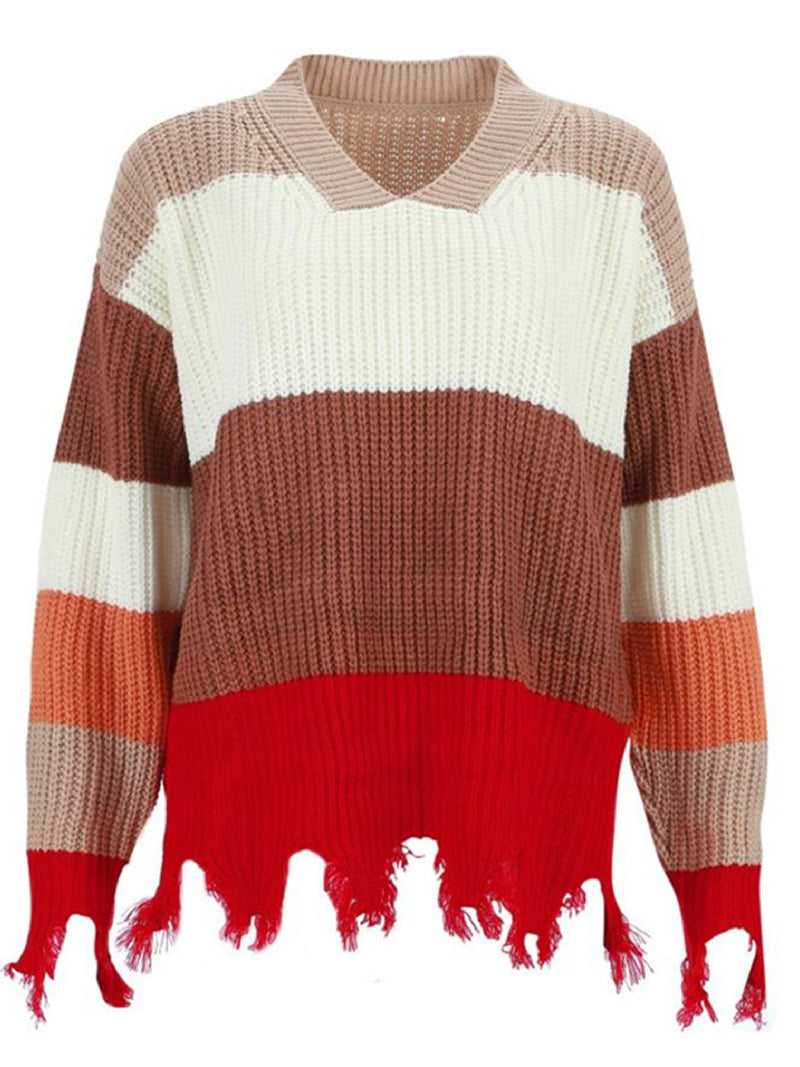 'Addie' V-neck Color Block Distressed Sweater