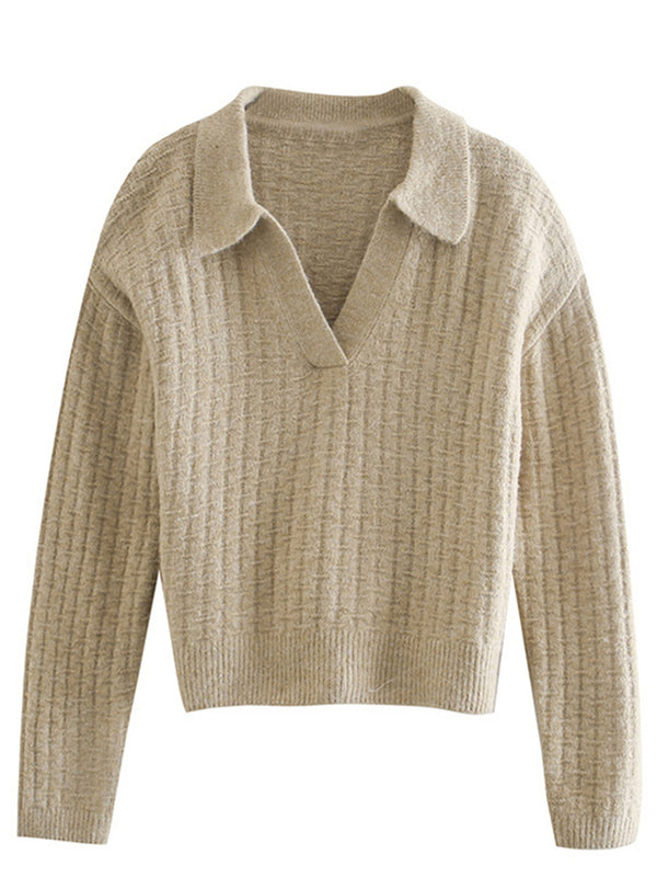 'Karen' V-neck Polo Knit Sweater