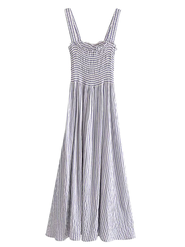 'Paisley' Striped Ruched Maxi Dress