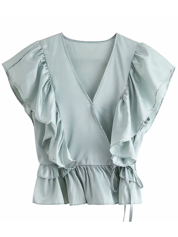 'Sierra' Ruffled Sleeves Wrap Top