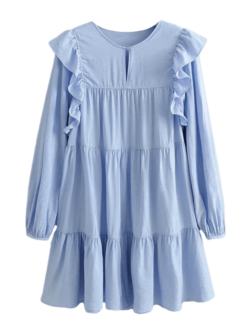 'Spencer' Blue Ruffled Dolly Dress