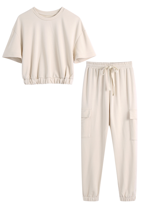 'Iris' Elastic Hem Cropped Top & Pant Set