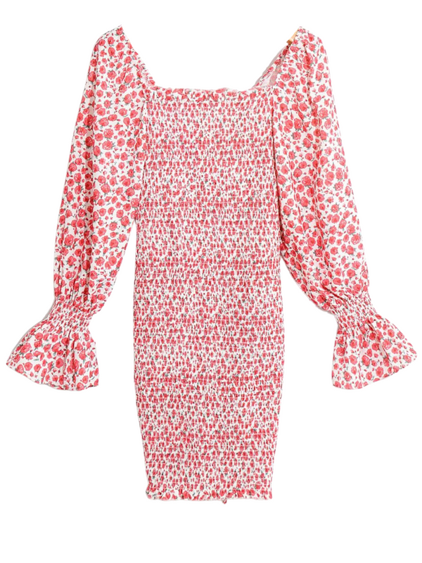 'Rebecca' Floral Printed Puff Sleeves Drawstring Mini Dress