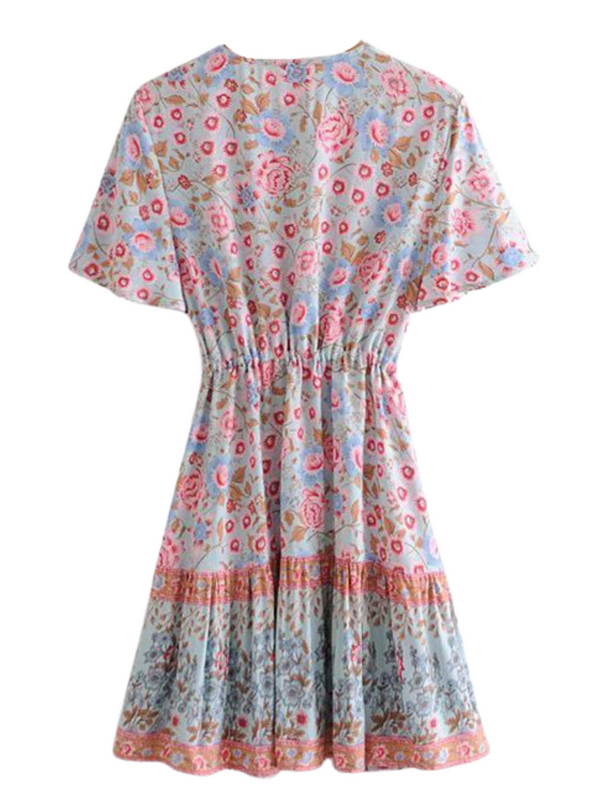 'Kathleen' Floral Buttoned Tied Waist Mini Dress