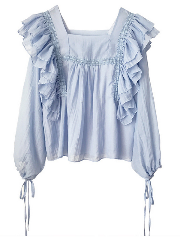 'Christa' Square Neck Ruffled Tied Sleeves Blouse