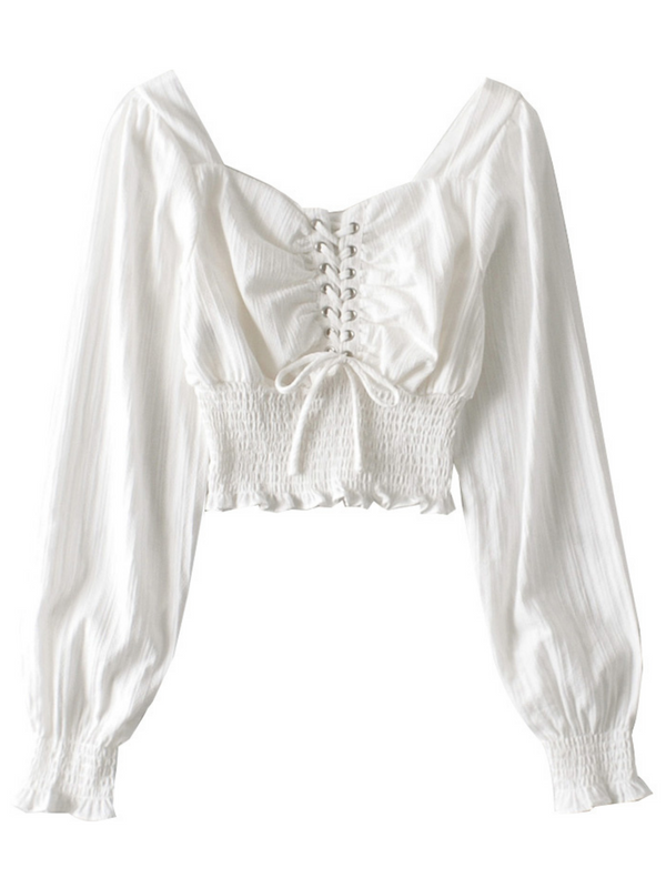 'Charlotte' Lace Up Cropped Blouse (2 Colors)