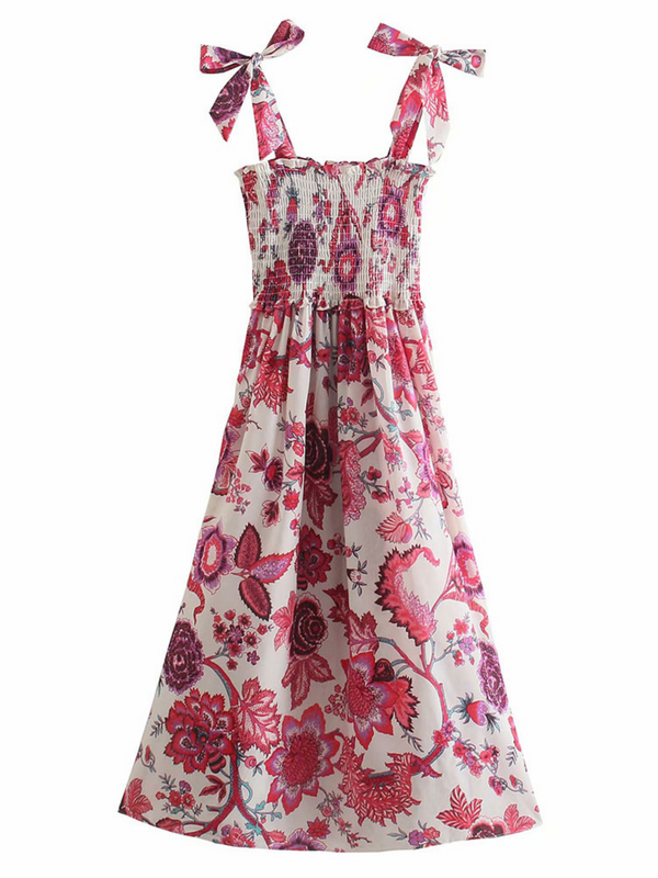 'Pamela' Floral Tied Strap Ruched Maxi Dress