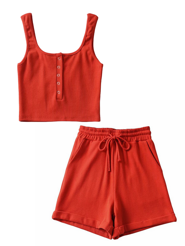 'Erin' Buttoned Cropped Top & Shorts Set (3 Colors)