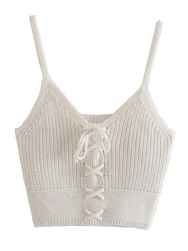 'Carolyn' Knit Lace-up Cami Top (2 Colors)
