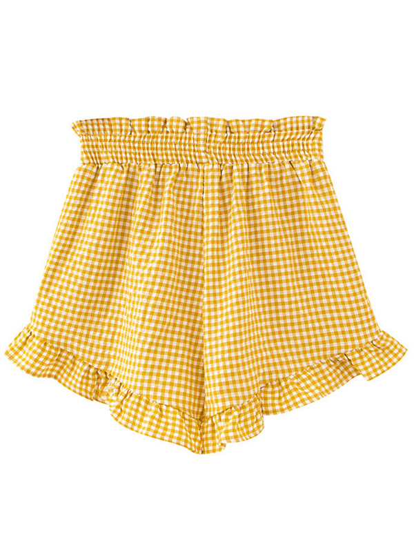 'Macy' Checked High Waisted Ruffled Shorts (2 Colors)